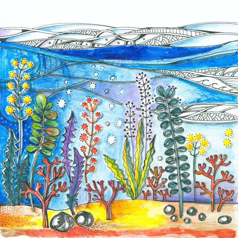 subacqueo Immagine variopinta luminosa con alga e coralli in mondo subacqueo illustrazione vettoriale