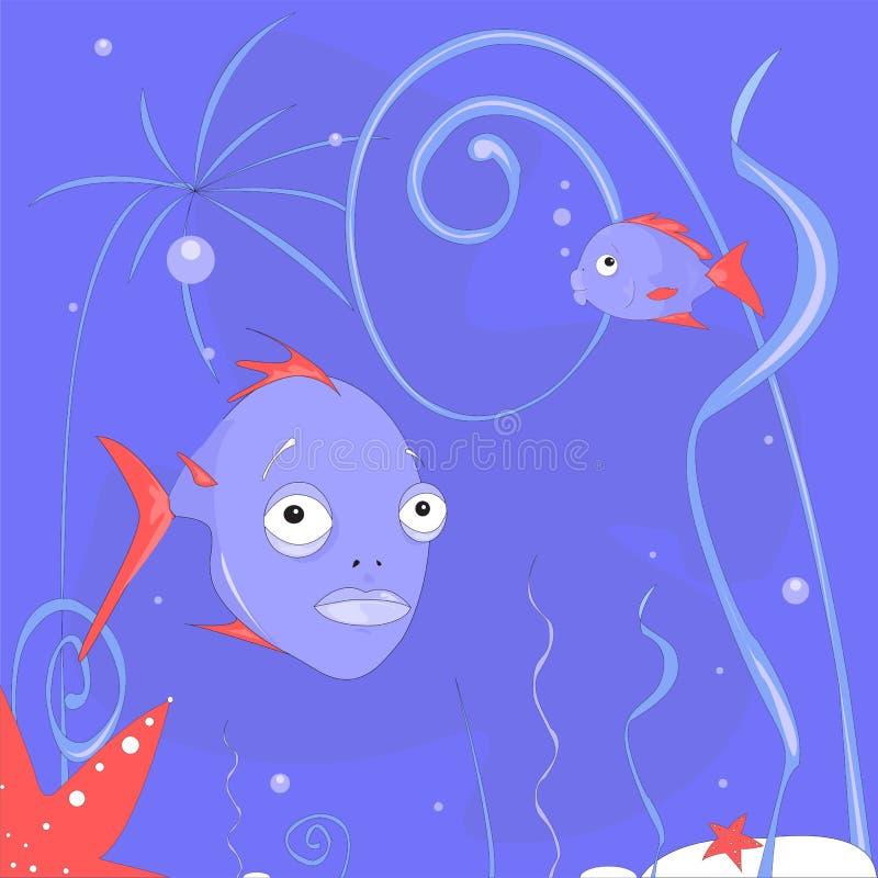 ` Subacqueo leggiadramente di vita marina del ` - fondo dell'oceano immaginario del mare con le piante di mare, le stelle di mare illustrazione vettoriale