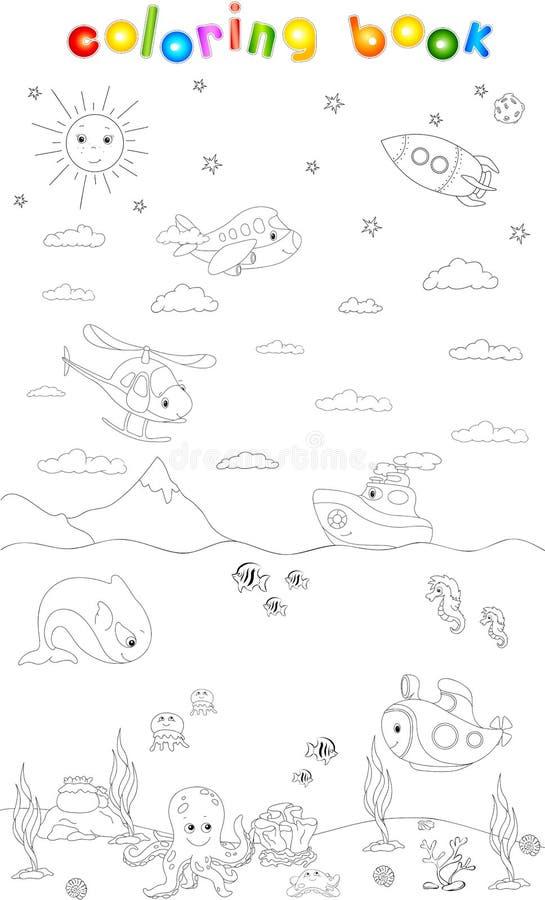 Subacuático, Mar, Cielo Y Mundo Del Espacio Libro De Colorante ...