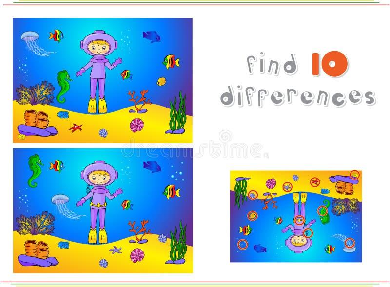 Subaqueo e pesce svegli del fumetto sotto acqua Ippocampo, jellyfi illustrazione di stock