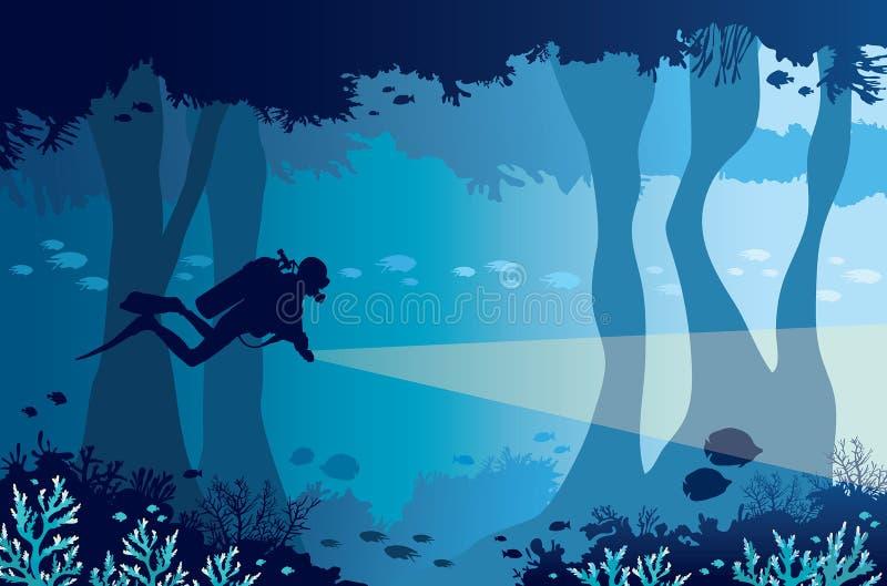 Subaqueo, lanterna, barriera corallina, caverna subacquea e mare royalty illustrazione gratis
