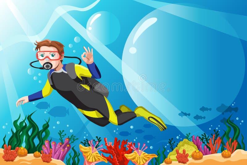 Subaqueo nell'oceano illustrazione vettoriale