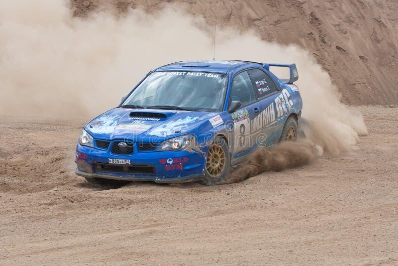 Subaru azul Impreza en la reunión fotografía de archivo libre de regalías