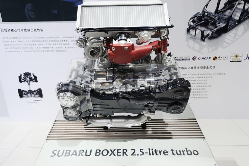 Subaru boxer 2.5-litre turbo engine royalty free stock photo