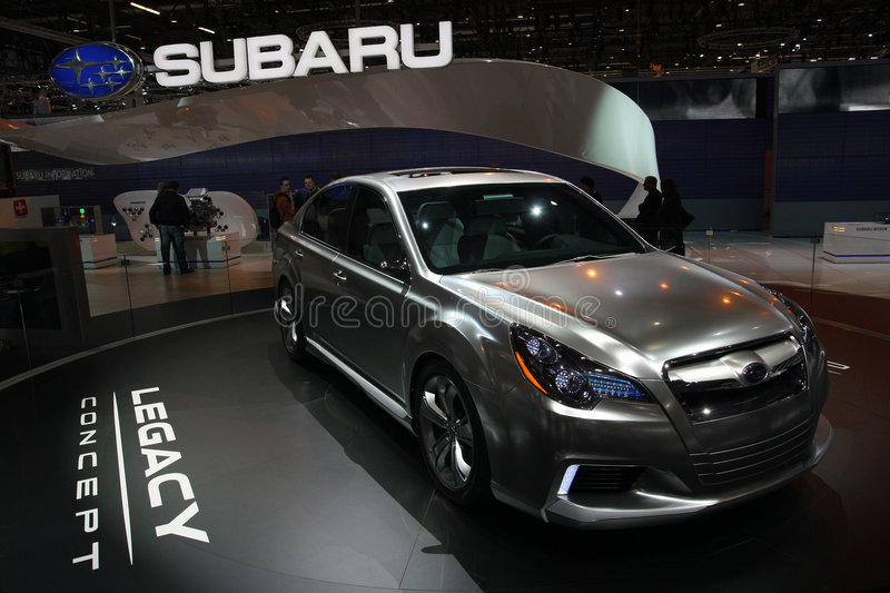 Subaru Legacy Concept - Geneva Motor Show 2009. First european presentation of Subaru Legacy (concept) at the 79th edition of the International Motor Show royalty free stock images