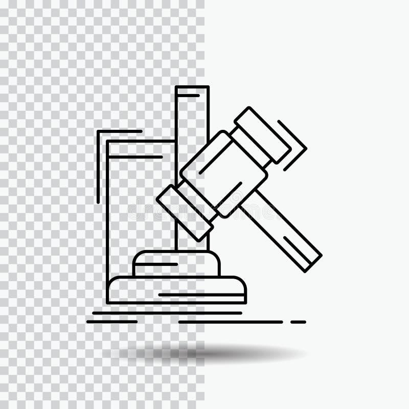 Subasta, mazo, martillo, juicio, línea icono de la ley en fondo transparente Ejemplo negro del vector del icono libre illustration