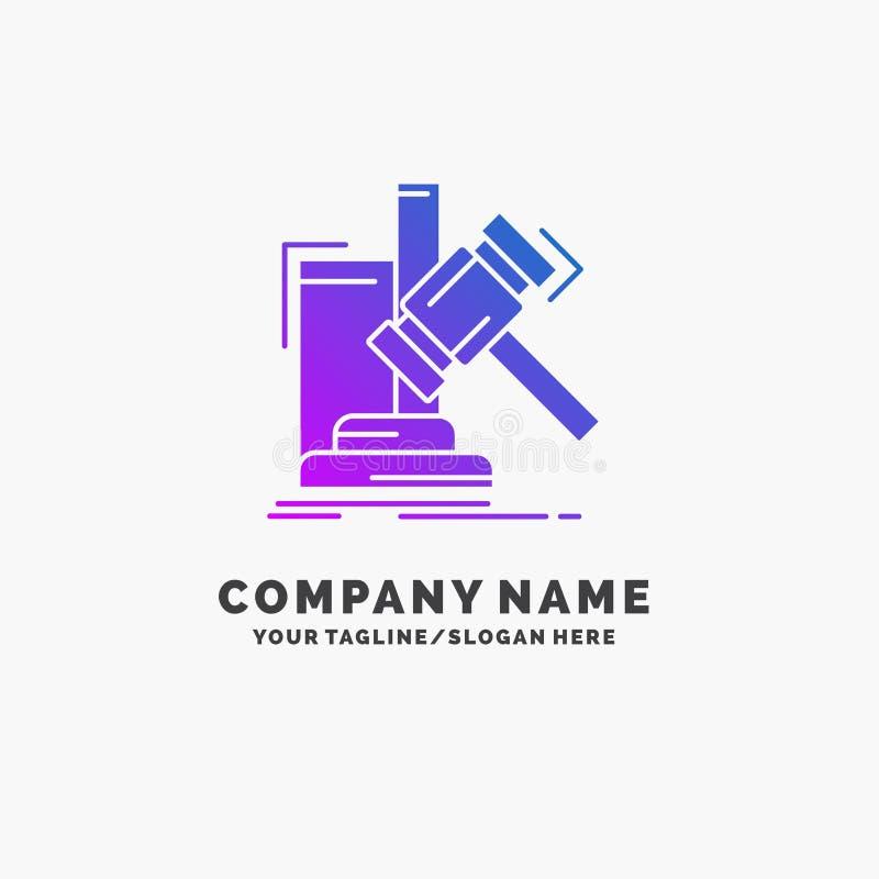 Subasta, mazo, martillo, juicio, negocio púrpura Logo Template de la ley Lugar para el Tagline libre illustration