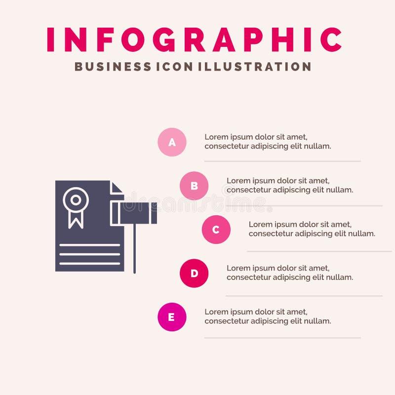 Subasta, vintage, costoso, grava, fondo de la presentación de los pasos de Solid Icon Infographics 5 del juez ilustración del vector