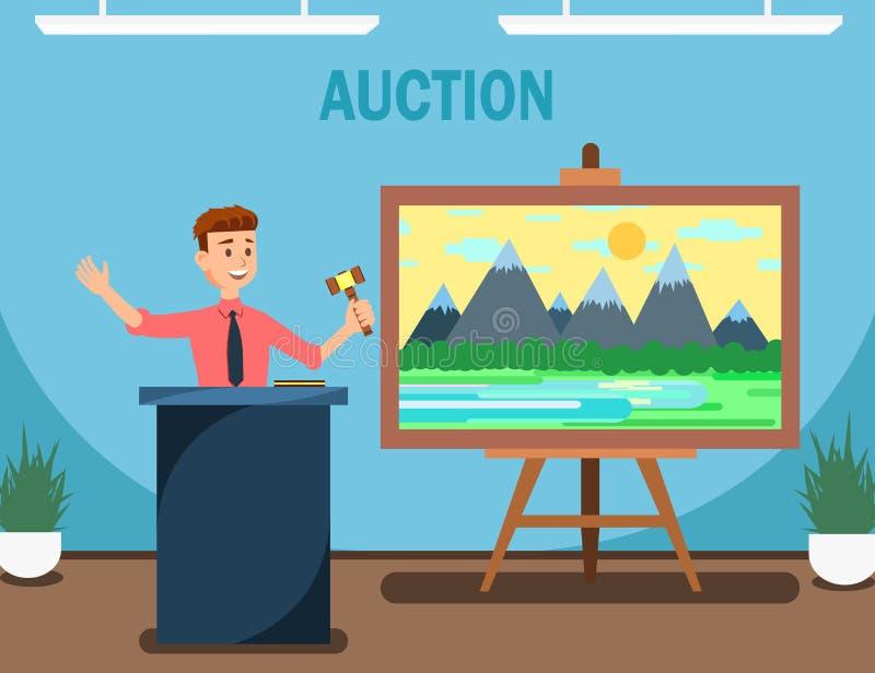 Subastador con el mazo que vende la pintura de paisaje libre illustration