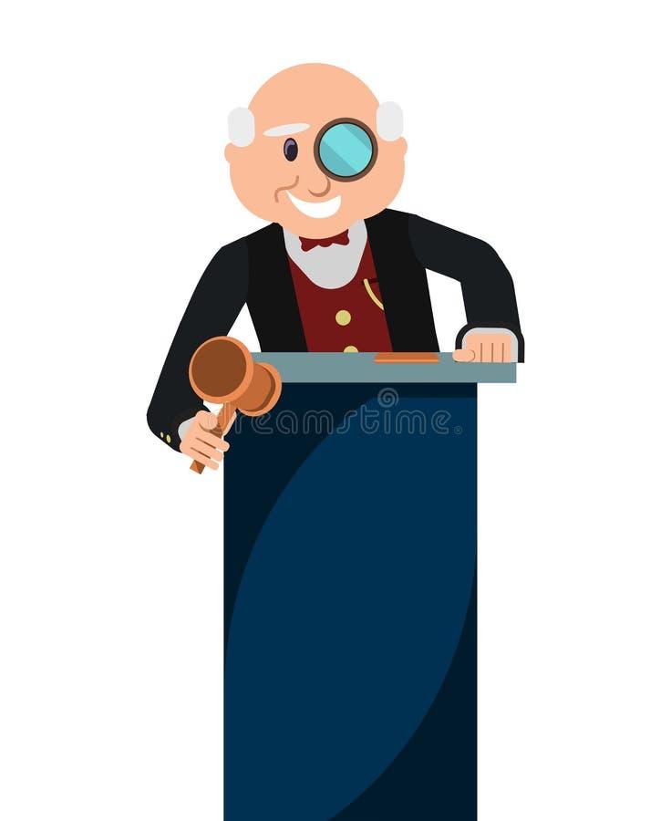 Subastador del viejo hombre con el mazo en casa de subastas ilustración del vector