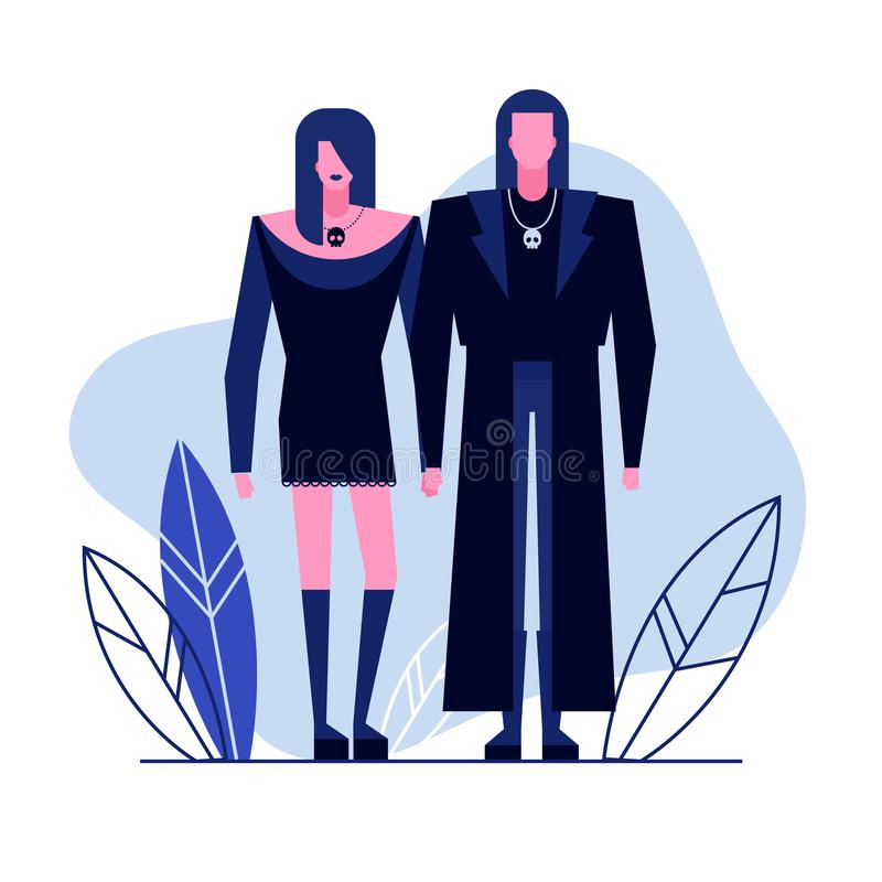 Subculture flat characters 3. Colorful flat characters,subculture music genre apparel style concept.Flat people,man and women in goth styles clothes outfit on vector illustration