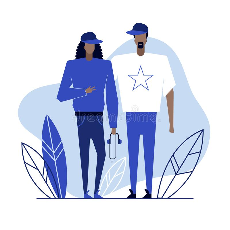 Subculture flat characters 4. Colorful flat characters,subculture music genre apparel style concept.Flat people,man and women in rap hip hop styles clothes royalty free illustration