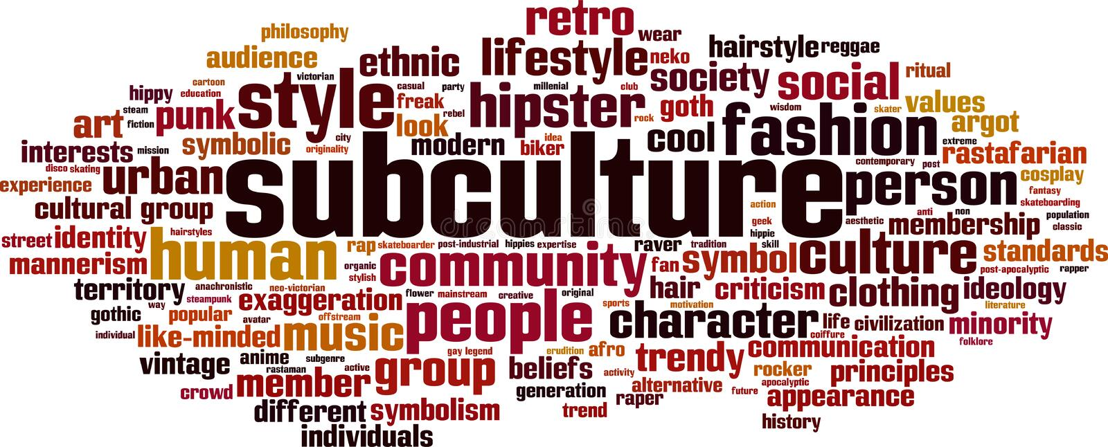 Subculture word cloud vector illustration