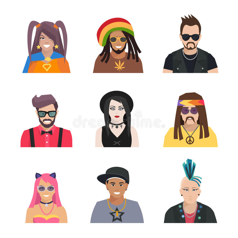Subcultures People Icons Set. Different subcultures portrait people in flat style isolated icons set vector illustration vector illustration