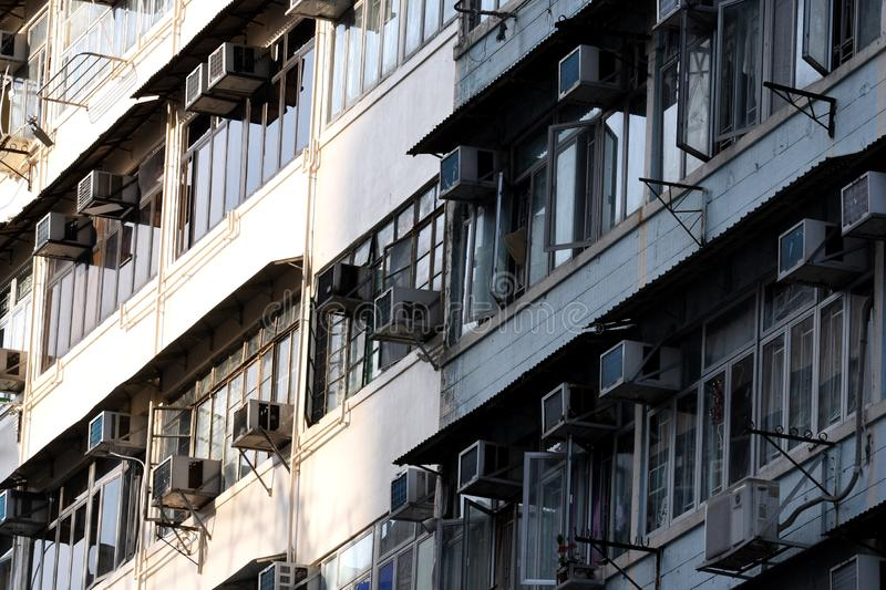 Subdivided Flats in Old Residential Building. In Kowloon in Hong Kong China stock photography