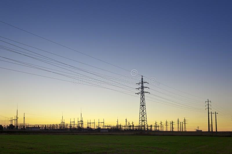 Subestação eléctrica foto de stock
