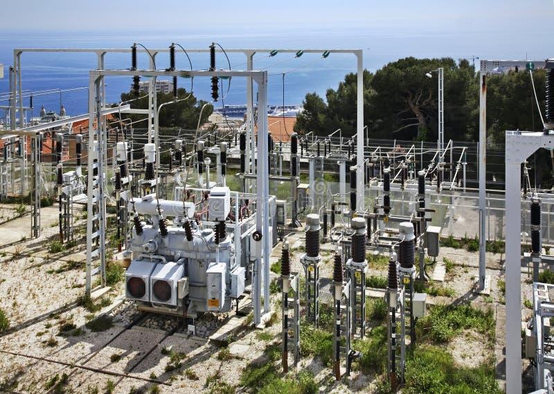 Subestação elétrica em Cantão de Beausoleil france imagens de stock