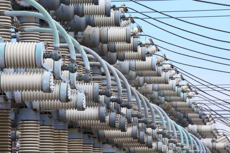 Subestação elétrica O equipamento da produção de eletricidade imagens de stock