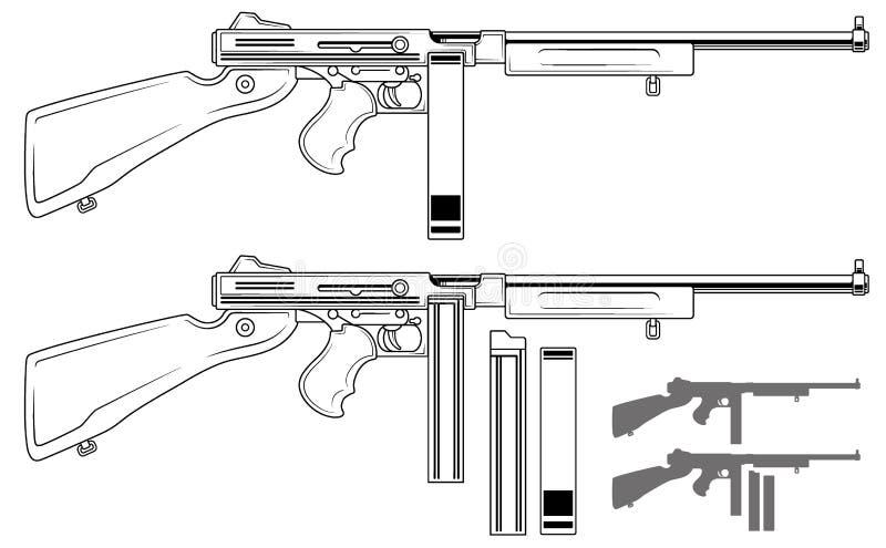 Subfusil ametrallador retro gráfico con el clip de la munición stock de ilustración