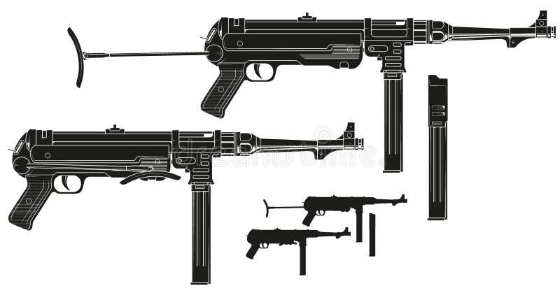 Subfusil ametrallador retro gráfico con el clip de la munición ilustración del vector