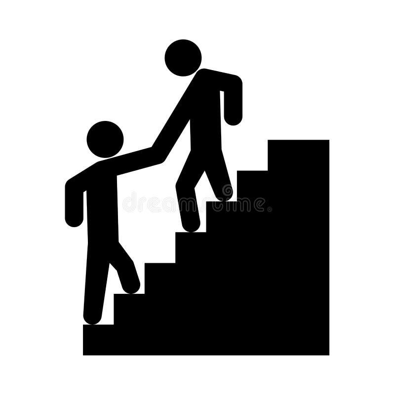 Subida de ayuda del hombre el otro hombre es icono negro libre illustration