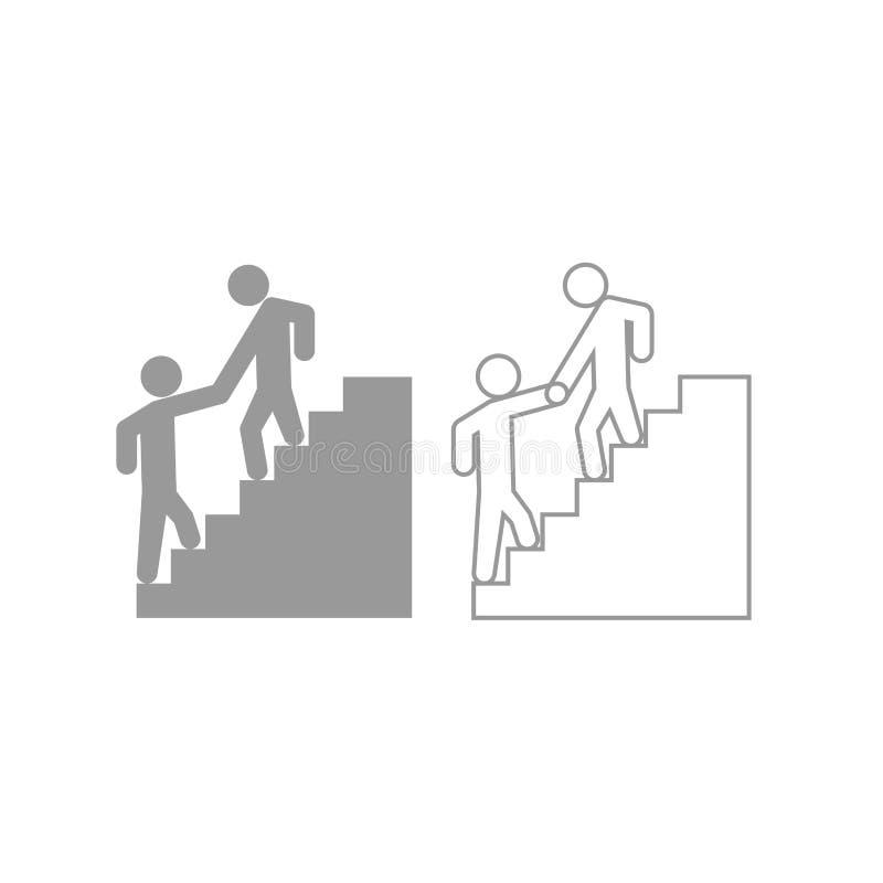 Subida de ayuda del hombre el otro icono del hombre Sistema del gris ilustración del vector