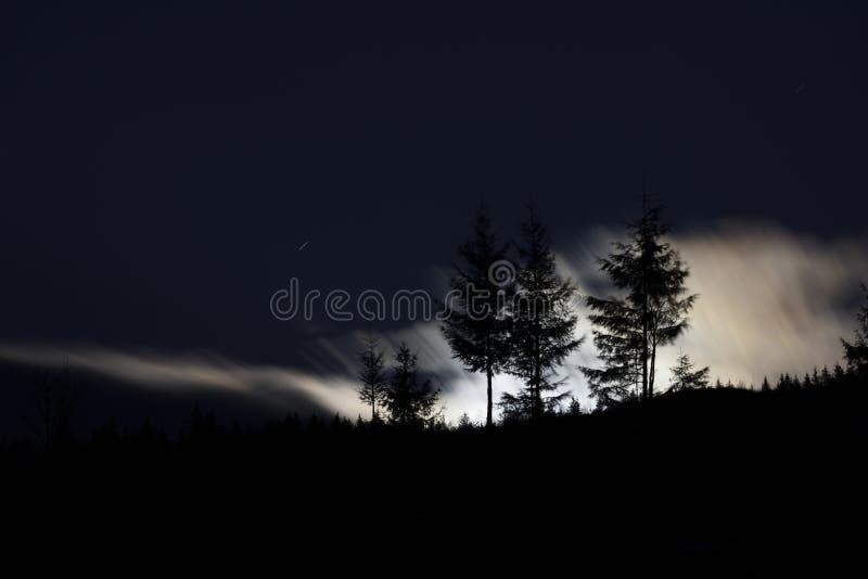 Subida de la Luna Llena con la silueta del bosque y de los árboles en las montañas fotografía de archivo