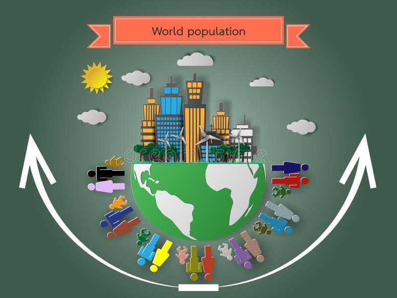 Subida de la población de mundo, ejemplo del vector ilustración del vector