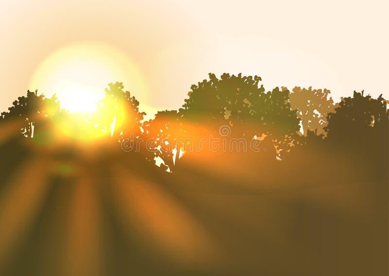Subida de Sun con los rayos de sol brillantes ilustración del vector