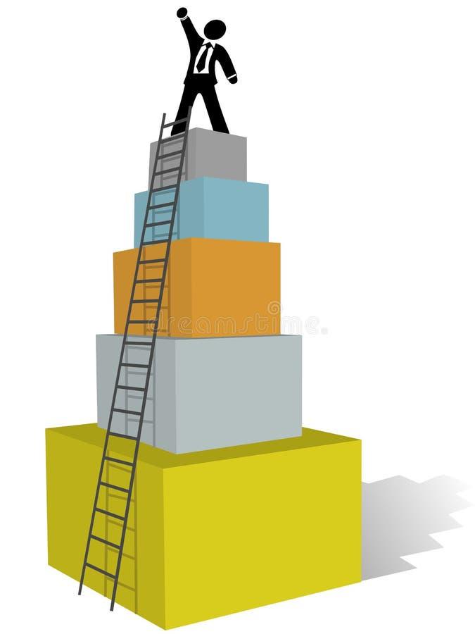 Subida del hombre de negocios a la tapa de la escala del éxito stock de ilustración