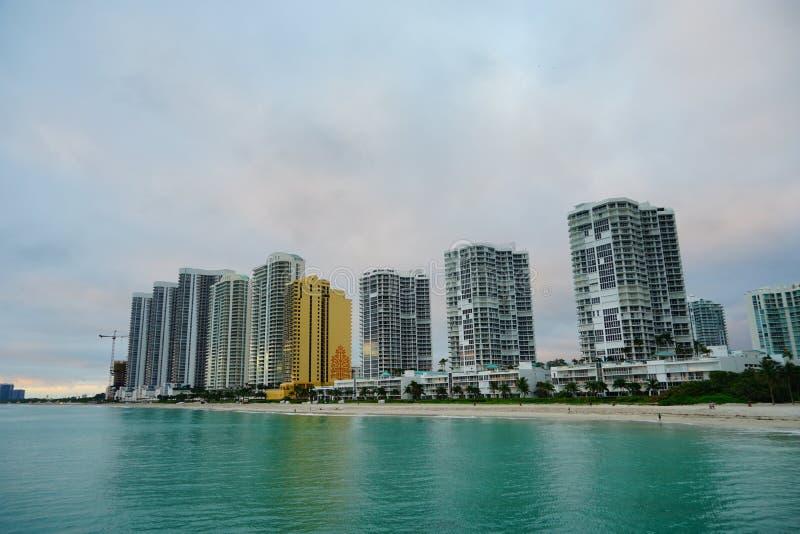 Subida del sol de Miami fotografía de archivo