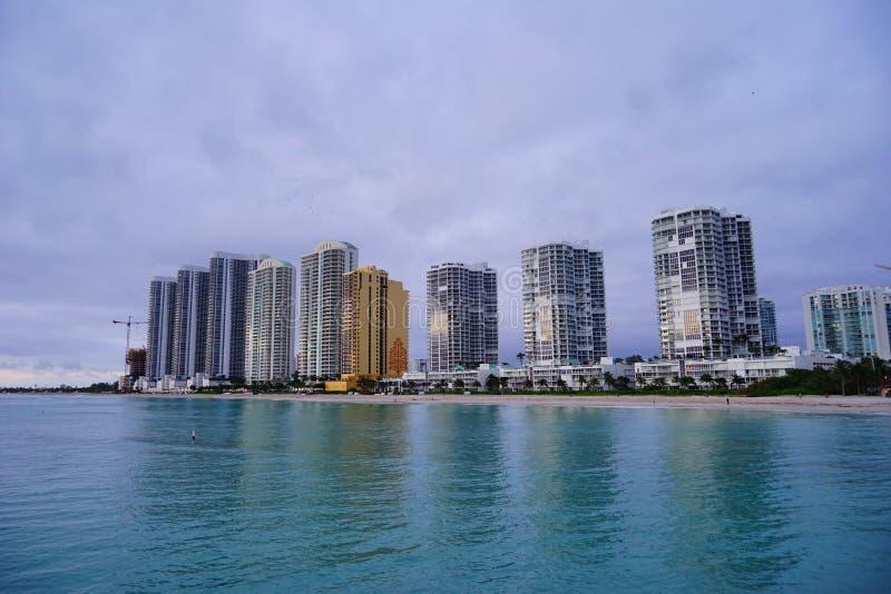 Subida del sol de Miami imagenes de archivo