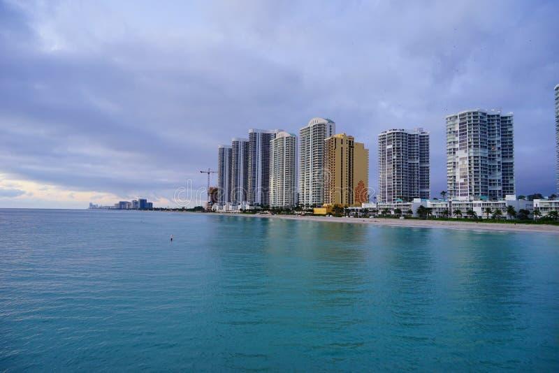 Subida del sol de Miami foto de archivo