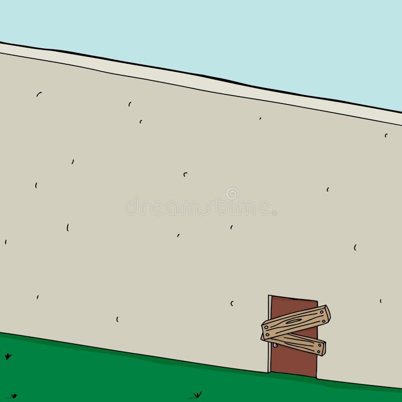 Subido encima de puerta en pared ilustración del vector