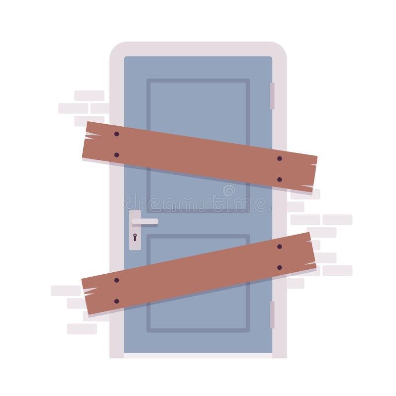 Subido encima de puerta stock de ilustración