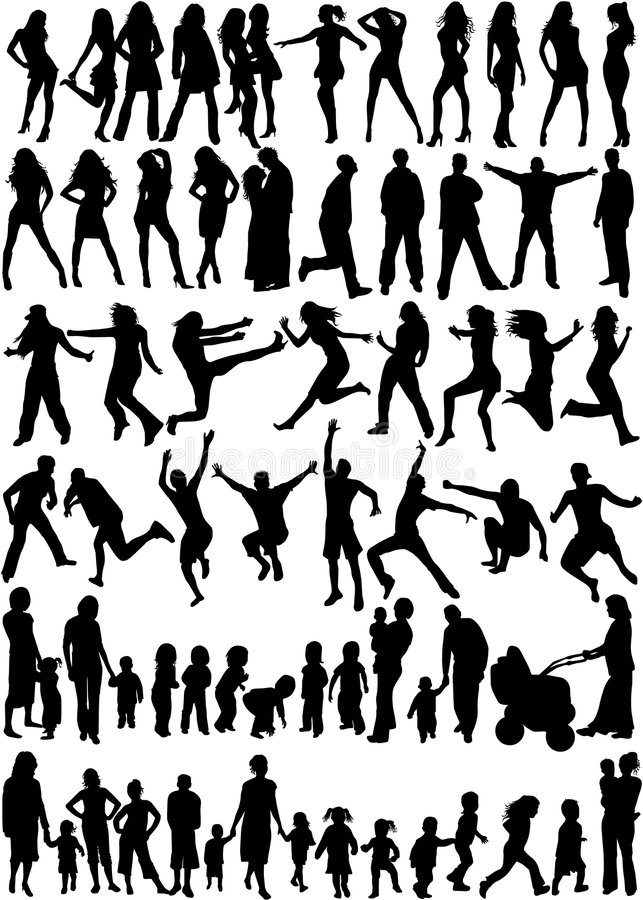 Subject People Silhouettes royalty free illustration