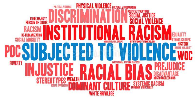 Subjected To Violence Word Cloud. Subjected To Violence Due to Racism word cloud on a white background stock illustration