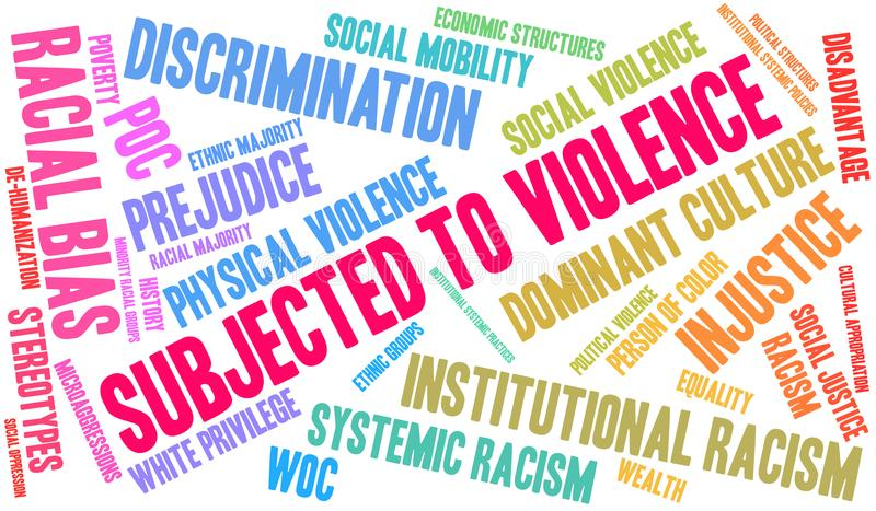 Subjected To Violence Word Cloud. Subjected To Violence due to Racism word cloud on a white background royalty free illustration
