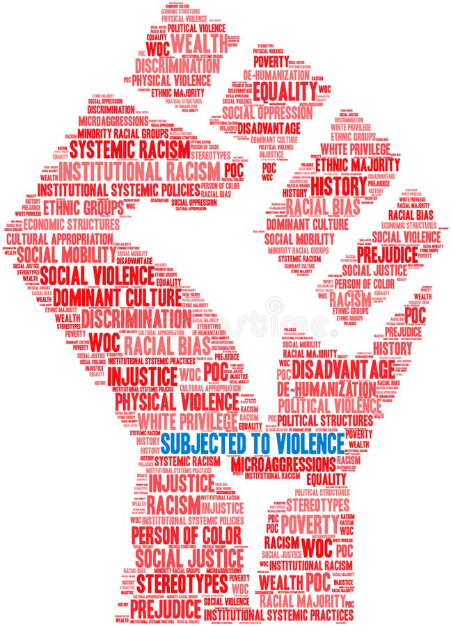 Subjected To Violence Word Cloud. On a white background royalty free illustration