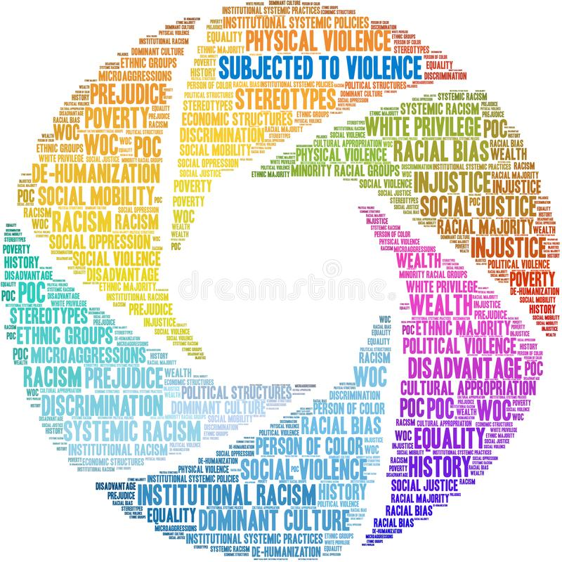 Subjected To Violence Word Cloud. On a white background stock illustration