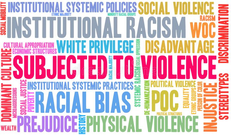 Subjected To Violence Word Cloud. On a white background vector illustration
