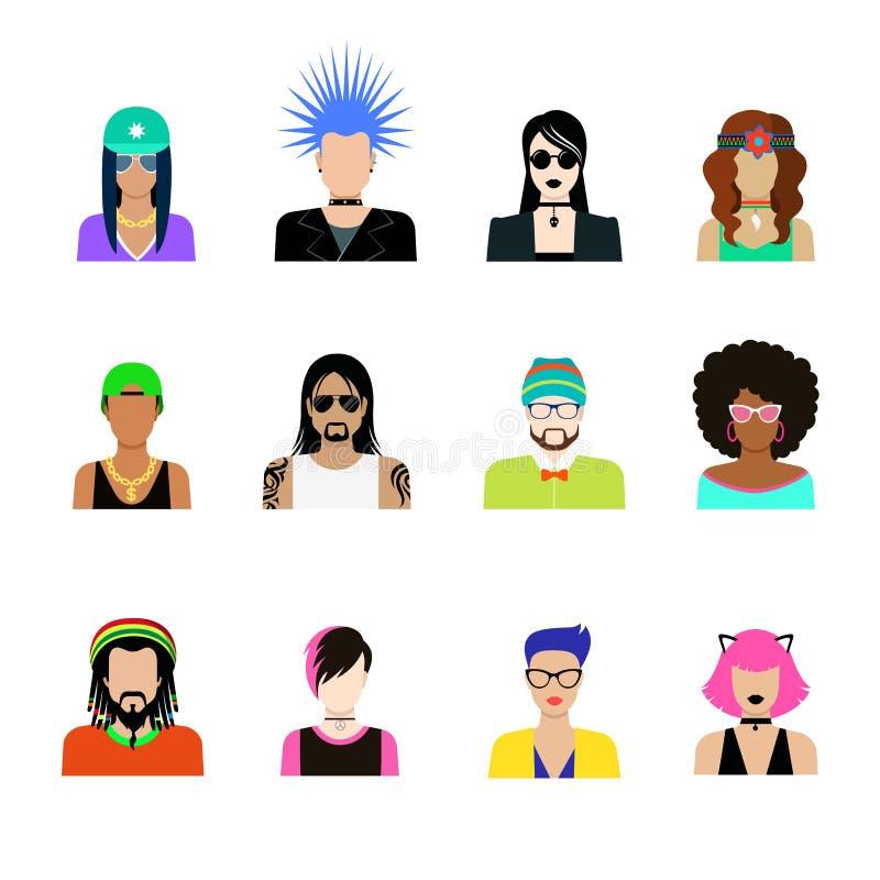 Subkultury pojęcia ikony wektorowy set Mężczyzna kobiety życie ilustracja wektor