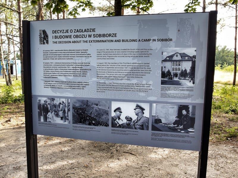 Sublevación conmemorativa del aboud del tablero en campo nazi de la exterminación de Sobior en 1943 imagen de archivo libre de regalías