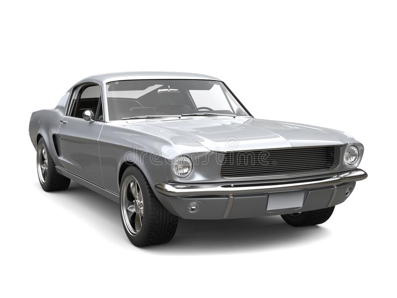 Sublime Silver American Vintage Muscle Car Stock Illustration ...