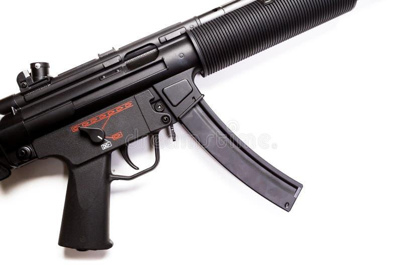 Submachine πυροβόλο όπλο με τον ησυχαστήρα στοκ φωτογραφία
