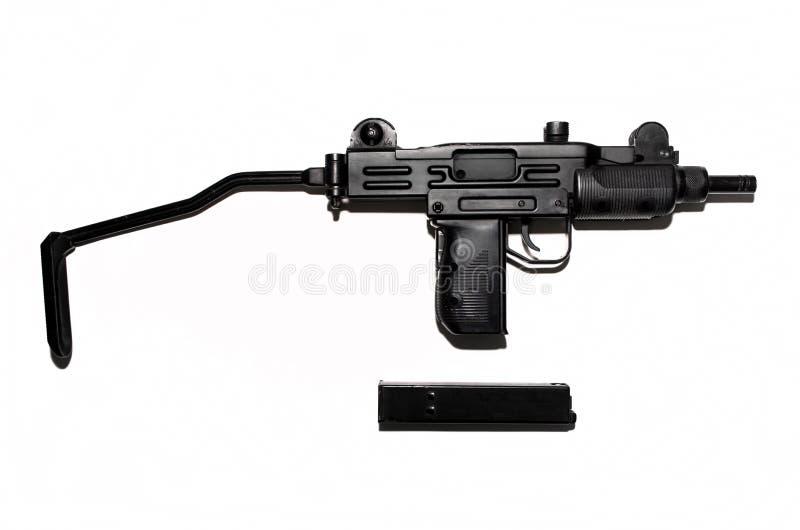 Submachine πυροβόλο όπλο που απομονώνεται στο άσπρο υπόβαθρο, πνευματικό όπλο στοκ εικόνα
