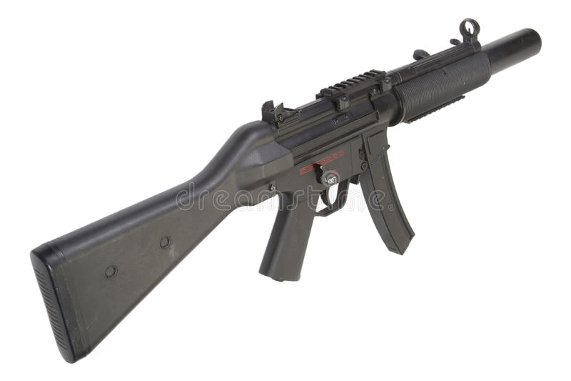 Submachine πυροβόλο όπλο MP5 με τον ησυχαστήρα στοκ εικόνα με δικαίωμα ελεύθερης χρήσης
