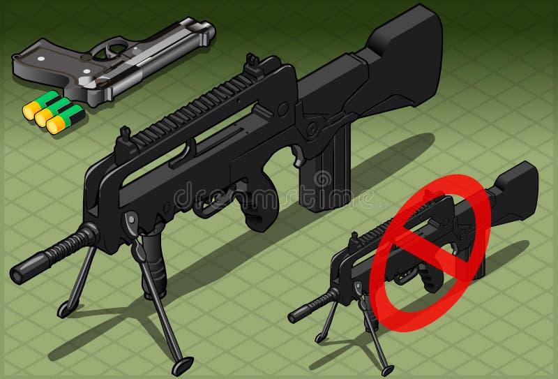 Submachine e pistola isométricos em Front View ilustração stock