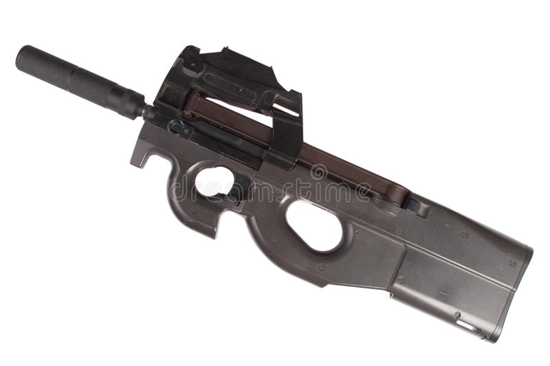 Submachine gun P90 - personal defense weapon. Isolated on white stock photography