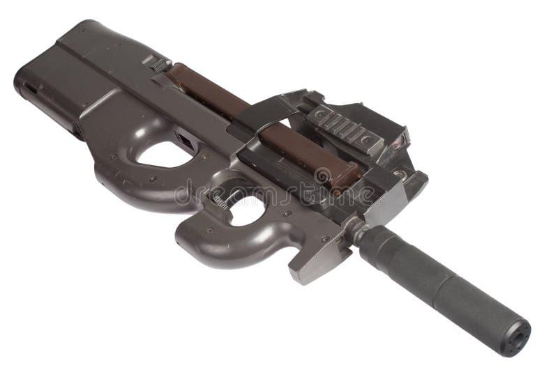 Submachine gun P90 - personal defense weapon. Isolated on white stock image
